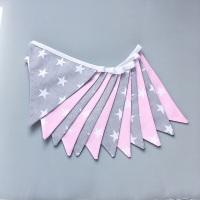 Grey & Pink Stars  Bunting