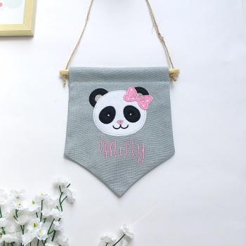 Girl Panda Pennant Flag
