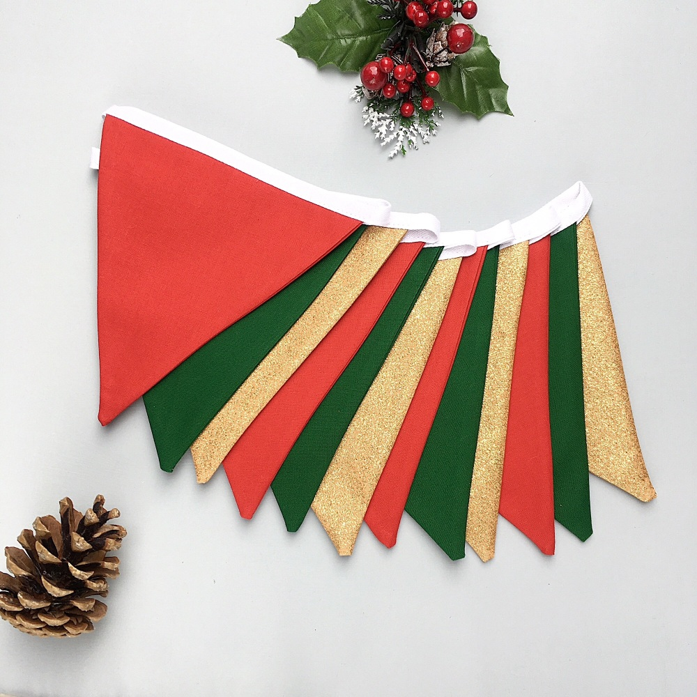 Christmas Bunting in red, green & gold