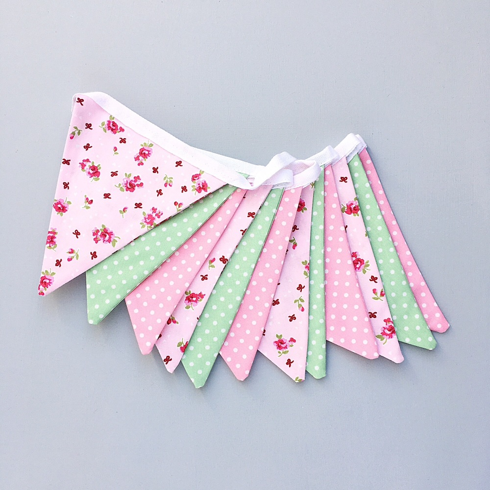 Pink & Green Floral Bunting