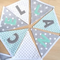 Personalised Mint Green & Grey Bunting