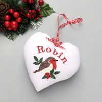 Personalised Christmas Robin Heart