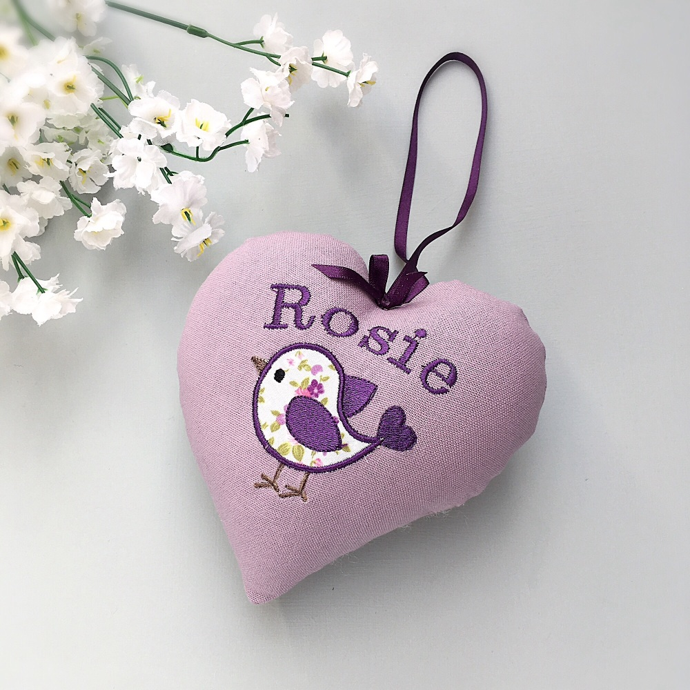 Personalised Lilac baby bird heart