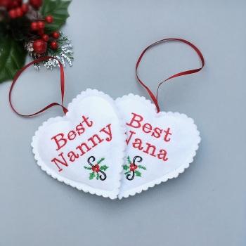 Personalised White Felt Christmas Heart Decoration