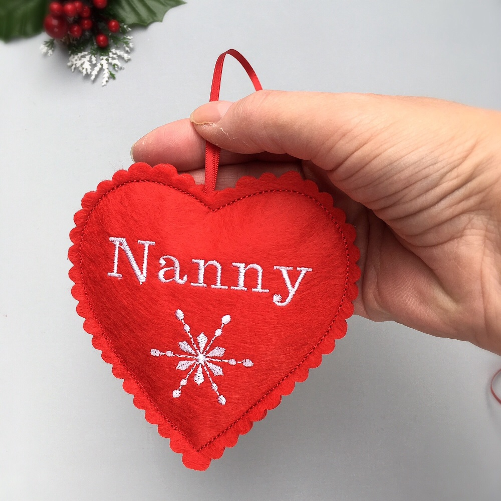 Personalised Red Felt Christmas Heart Decoration