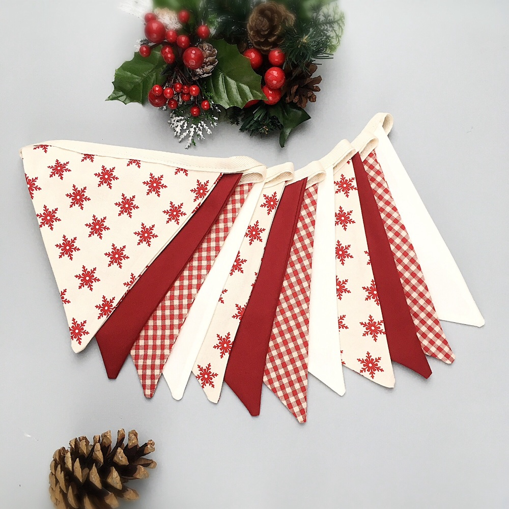 Scandi Style Bunting in Red & Cream