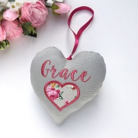 Personalised Fabric Heart with applique heart