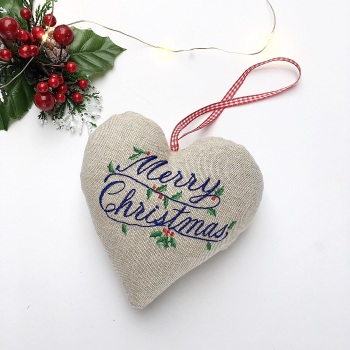 Merry  Christmas Embroidered Heart