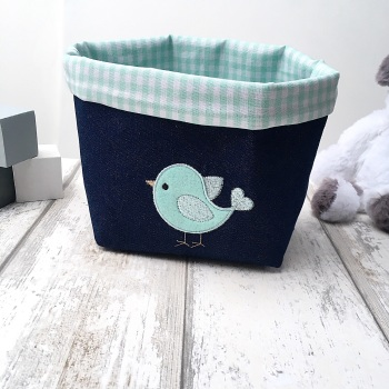 Fabric Basket with bird embroidery & Mint Green Gingham liner