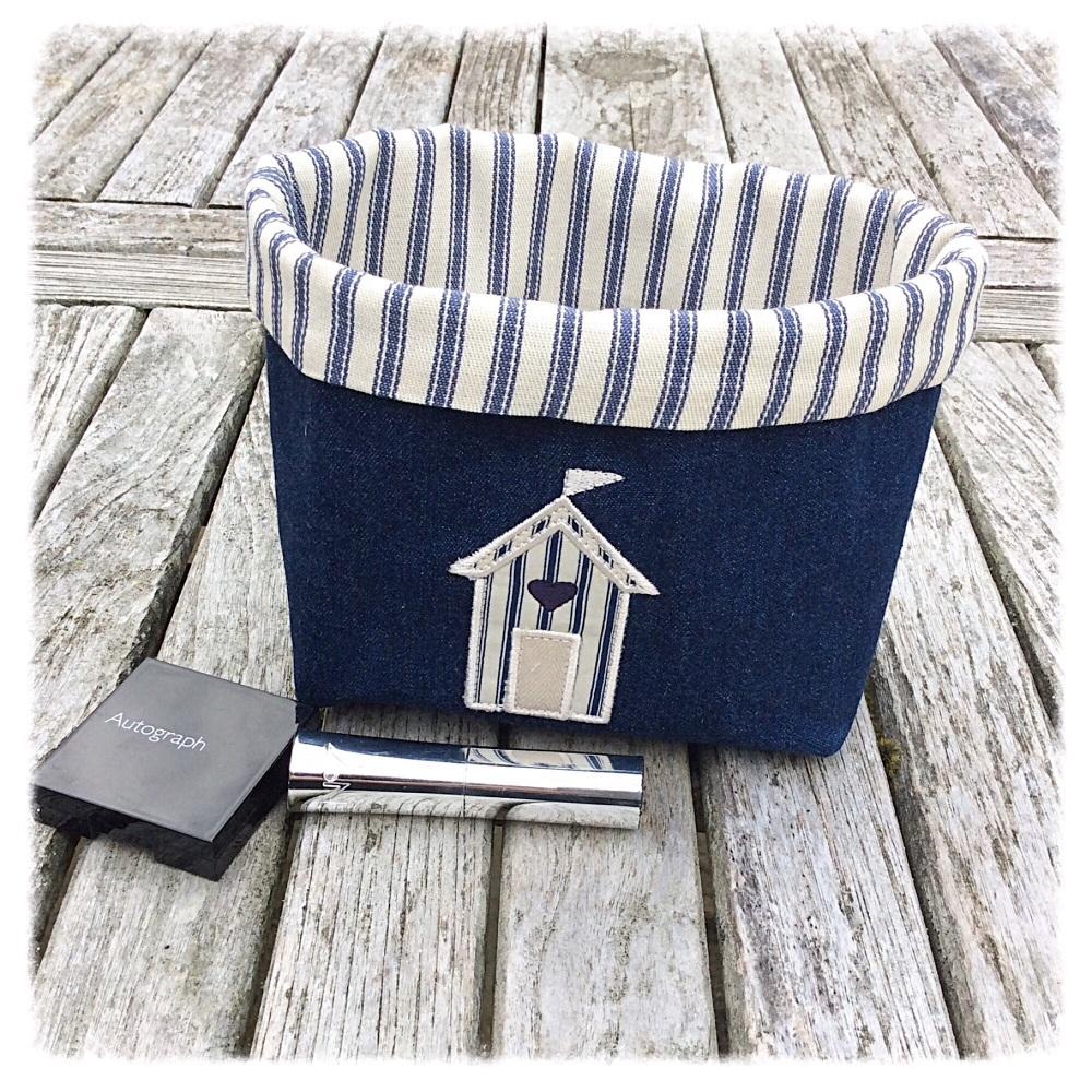 Beach Hut Embroidery Fabric Basket