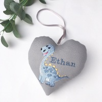 Personalised Dinosaur Embroidered Heart