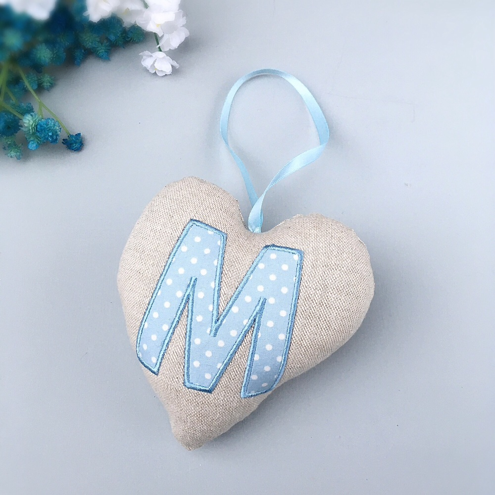 Blue Monogram Keepsake Heart