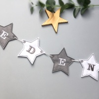 Personalised Grey Star Bunting Banner