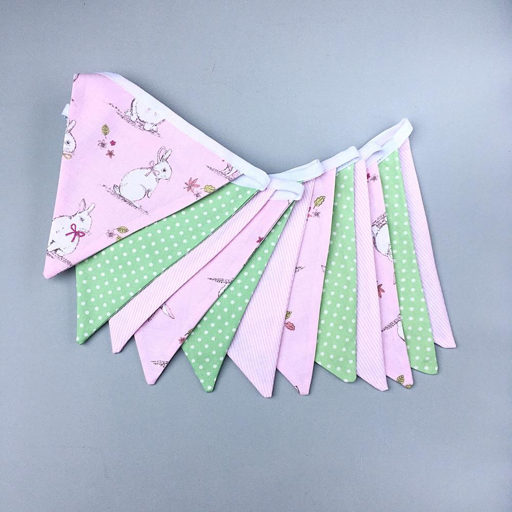Pink & Green Bunny Bunting