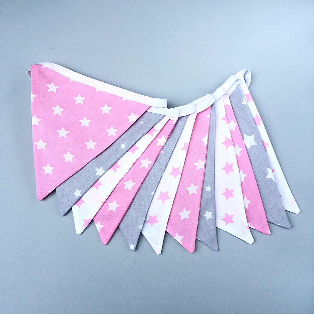 Grey, White & Pink Star Bunting