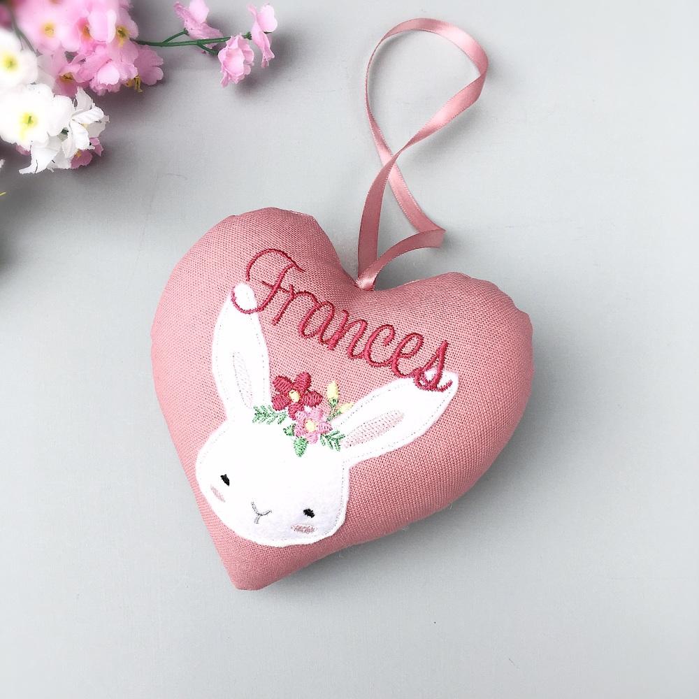 Personalised Girl Bunny Pink Heart