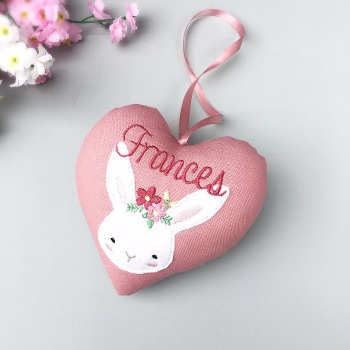 Personalised Girl Bunny Pink Heart