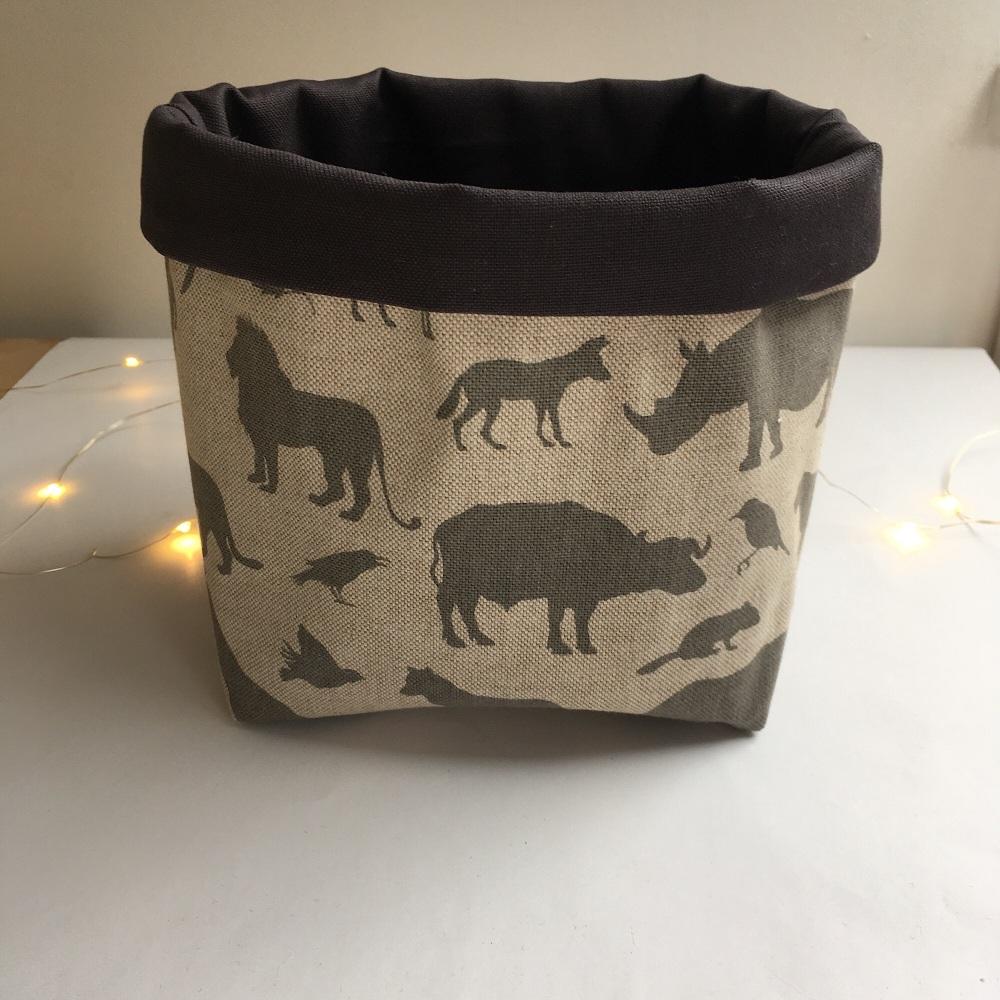 Safari Animals Fabric Basket