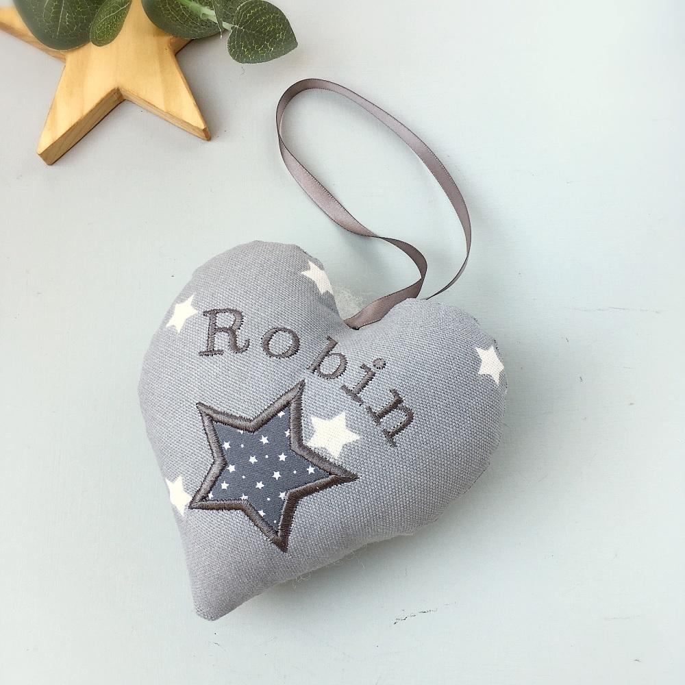Personalised Grey Star  Heart