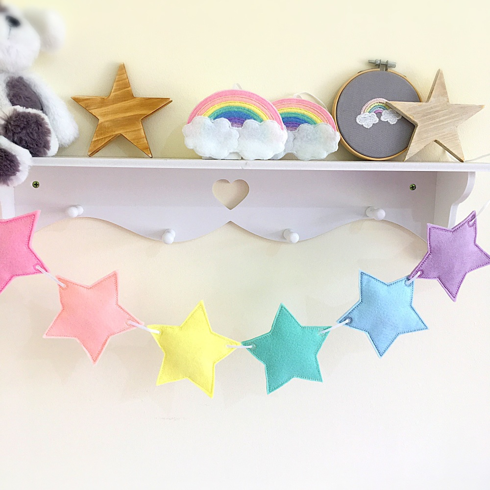 Pastel Rainbow Star Bunting