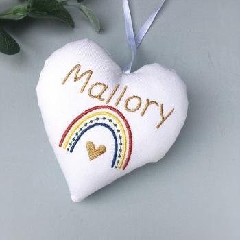 Personalised Boho Rainbow Heart - Natural