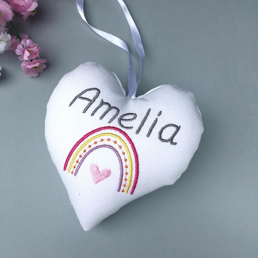 Personalised Boho Rainbow Heart - Pink