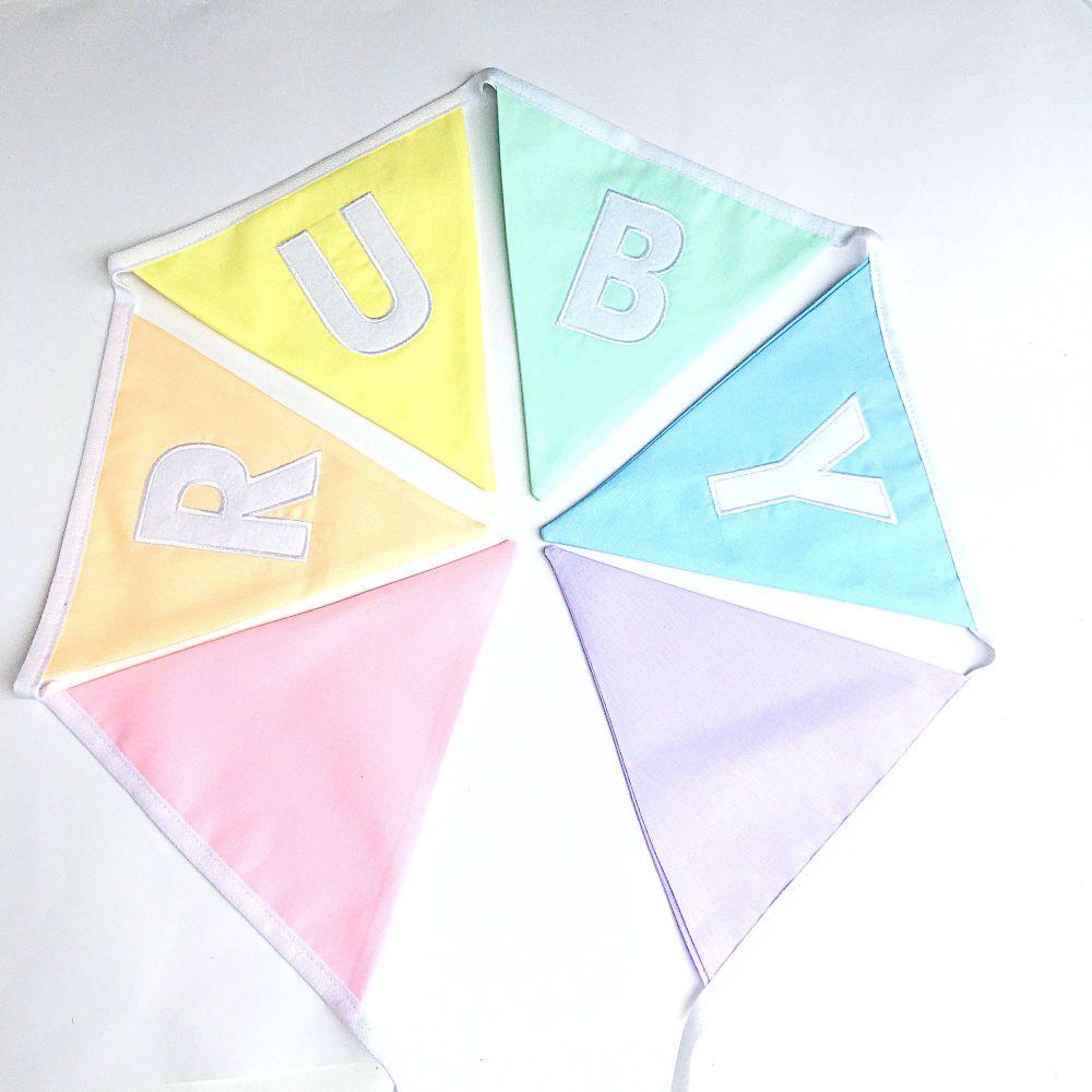 Personalised Pastel Rainbow Bunting