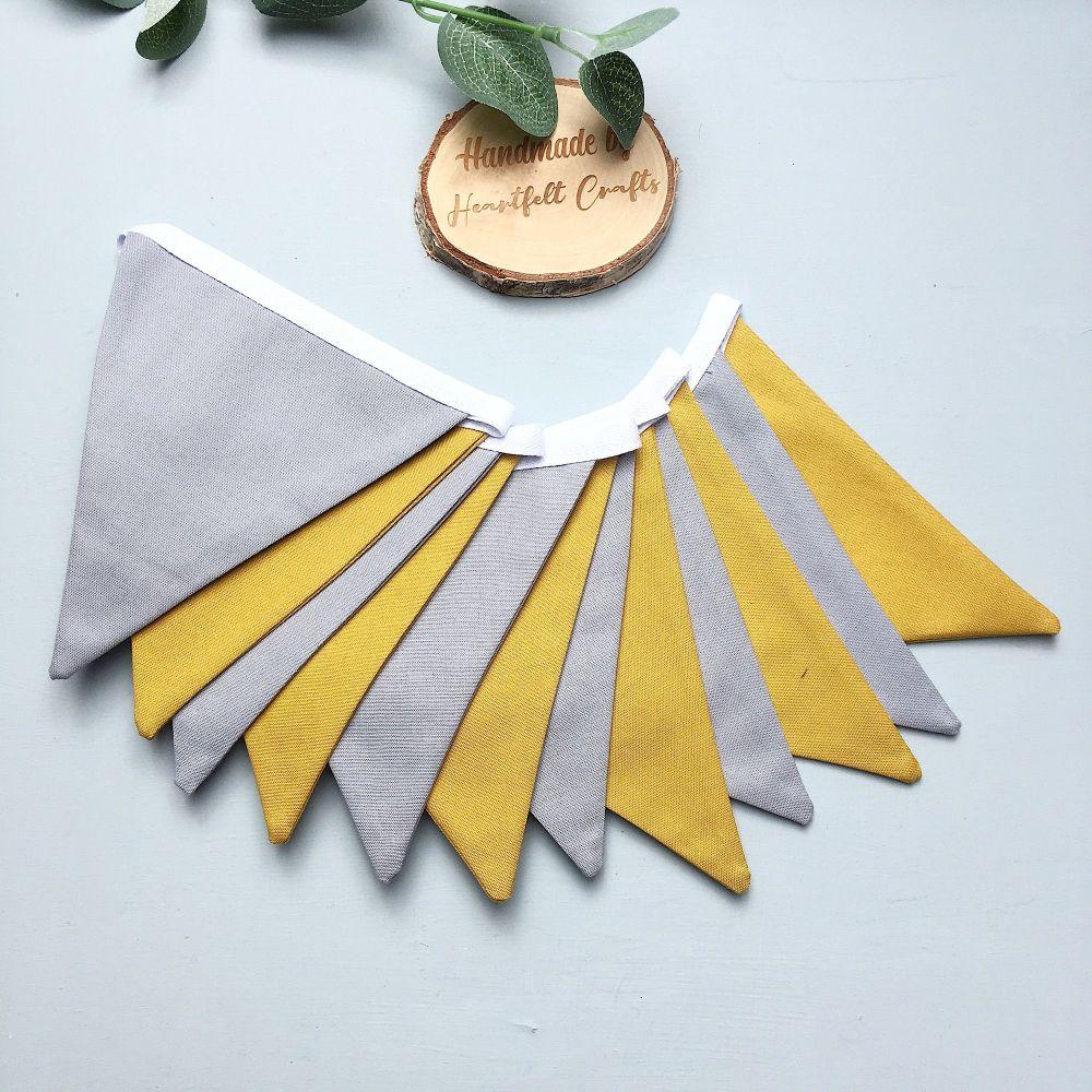 Plain Grey & mustard Bunting