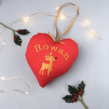 Personalised Christmas Reindeer Heart