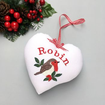 Personalised Embroidered Robin Heart