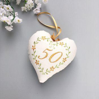 Golden Wedding Gift, 50th Anniversary Heart