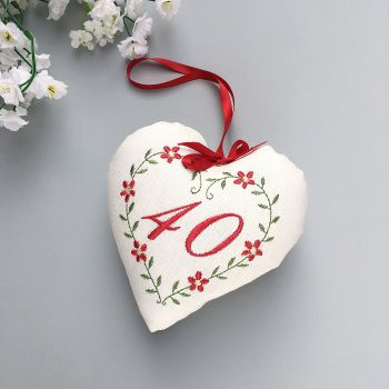 Ruby Wedding Gift, 40th Embroidered Heart