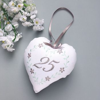 Silver Wedding Gift, 25th Embroidered Heart