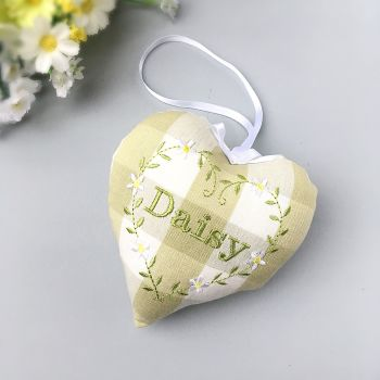Green Gingham Personalised Heart