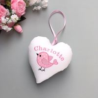 Personalised White heart with pink bird