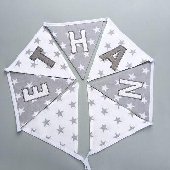 Personalised  Grey & White Stars Bunting