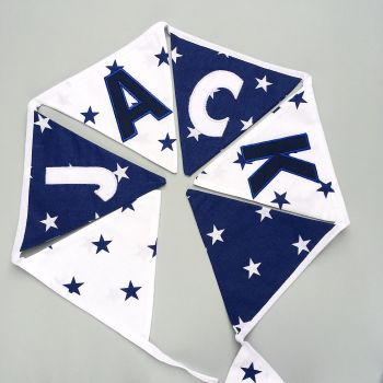 Personalised Blue & White Stars Bunting
