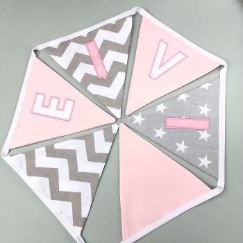 Personalised Grey & pink Bunting