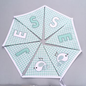 Personalised Bunting in Mint Green Gingham