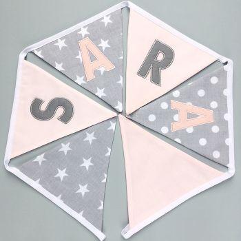 Personalised Grey & Blush Pink Bunting