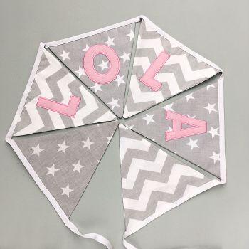 Personalised Bunting in Grey & Pink