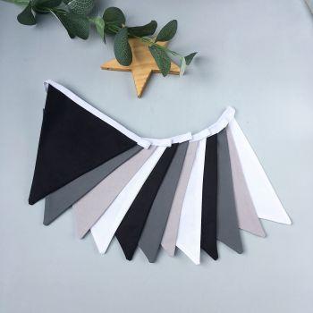 Black, Grey & White Plain Bunting