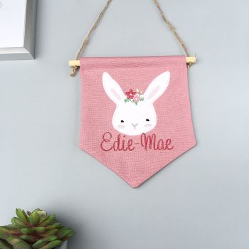 Boho Bunny Pink Pennant Flag