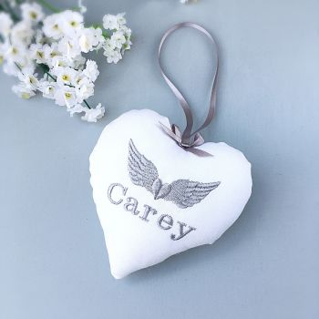 Angel Wings Memorial Heart - white