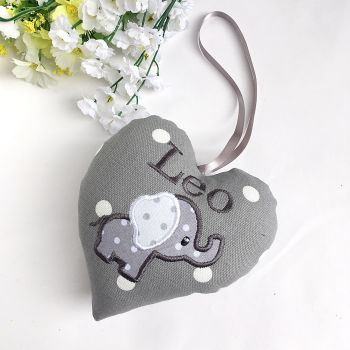 Grey & White  Elephant Heart