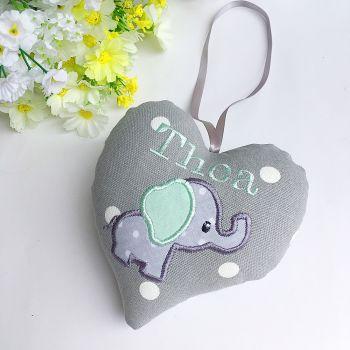 Grey & Mint Elephant Heart