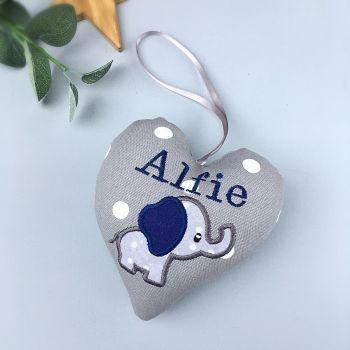 Grey & Navy Blue Elephant Heart