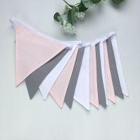 Grey & Blush Pink Plain Bunting