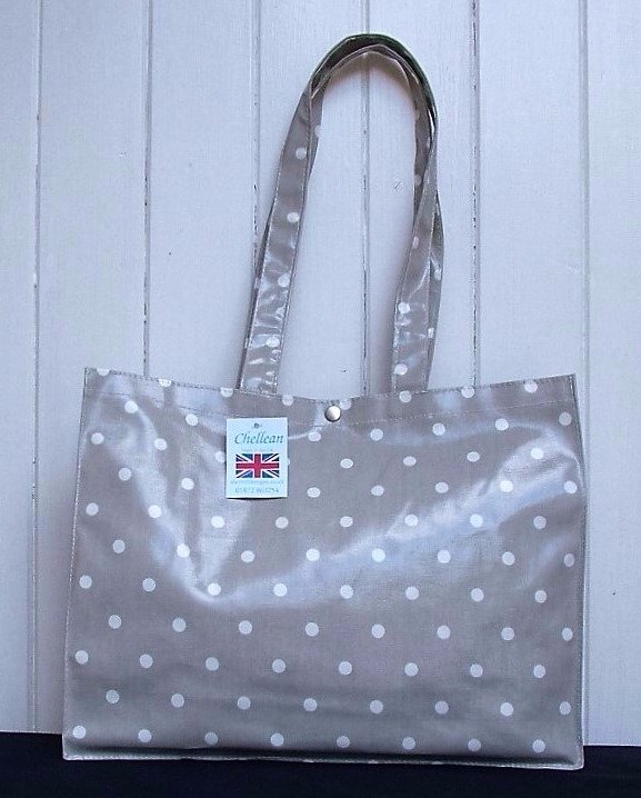 Vellum and White Spot Oilcloth Long Handle Gusset Bag