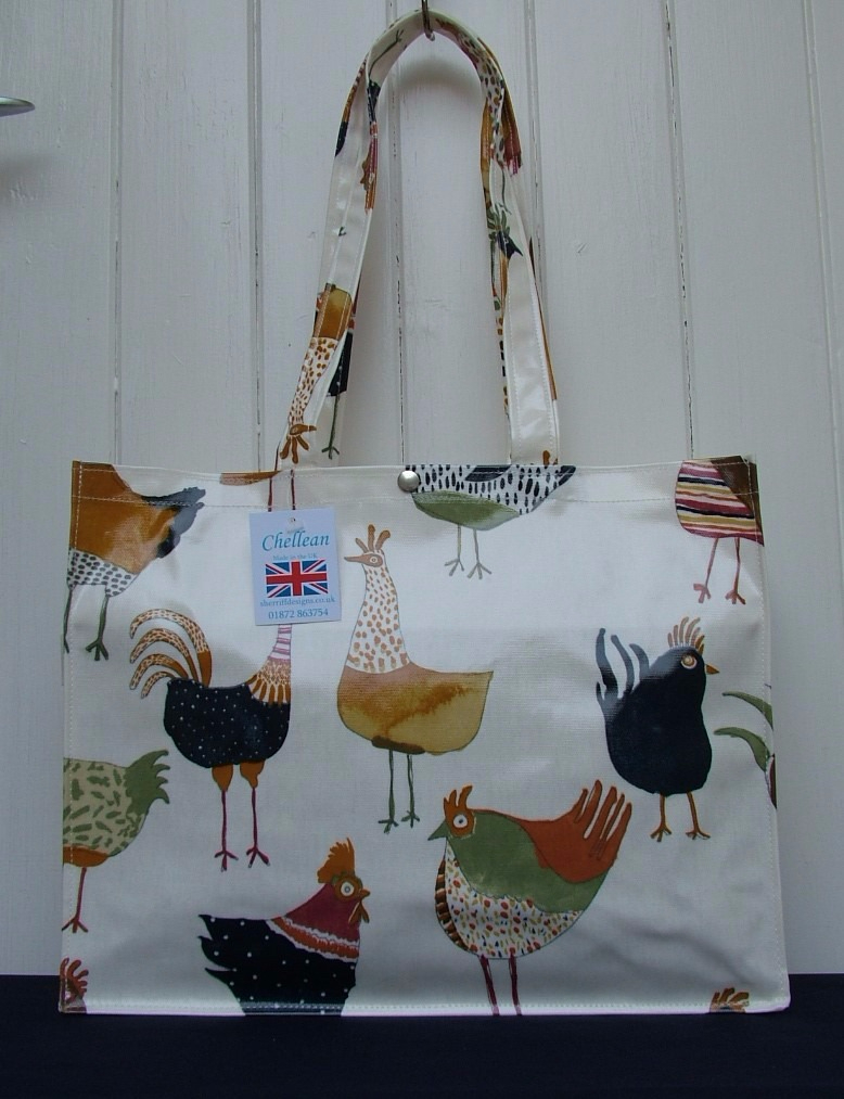Hens Long Handle Oilcloth Gusset Bag